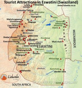 Map of tourist attractions in Eswatini (Swaziland)