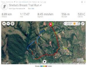 Trail Run Statistics Sheba's Breast
