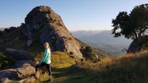 Trail running down Sheba's Breast Mountain