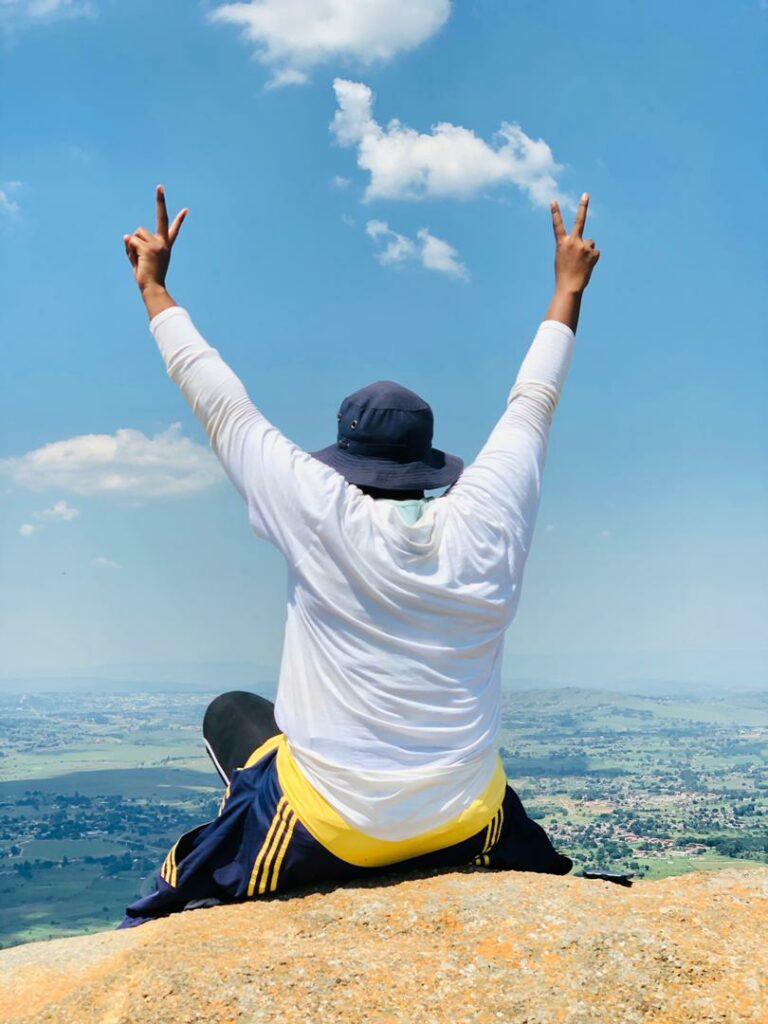Tandzile Zwane on top of Sheba's Breast mountain 10 March, 2020
