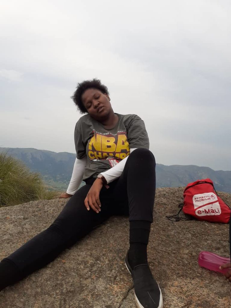 Tandzile Zwane looking tired after hiking 20 March, 2020